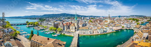 Zurich skyline panorama with river Limmat, Switzerland Slika na platnu