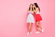 canvas print picture - Full length body size view of nice-looking attractive charming lovely winsome adorable cheerful cheery girls sharing news isolated over pink pastel background