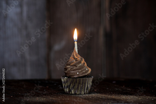 Chocolate birthday cupcake sprinkled with luster dust