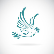 Vector Of Dove Of Peace With Olive Branch On White Background. Bird Design. Animals. Easy Editable Layered Vector Illustration.