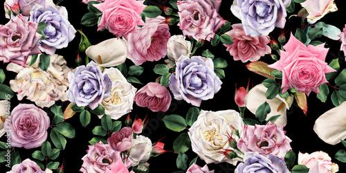 Obraz Kolorowe róże, kwiatowy wzór - fototapety do salonu