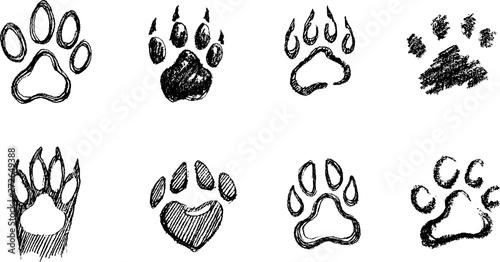 Obraz Paw Prints Set, Hand Drawn Sketch - fototapety do salonu
