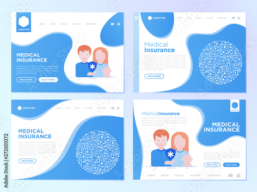 Medical insurance web page templates or for presentation: young family with baby are protected by medical shield Wallpaper Mural