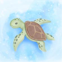 Cute Sea Turtle Swim Under Ocean