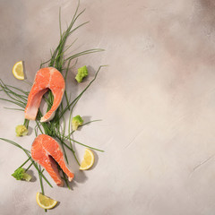 Raw salmon steak and vegetables on light background. Top View.