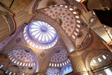 The Ceiling Of The Sultan Ahmed Mosque In Istanbul, Turkey, Also Known As The Blue Mosque