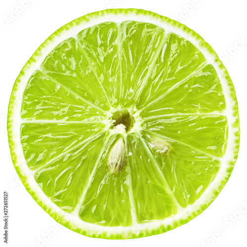 Top view of slice of lime citrus fruit isolated on white background with clipping path. Lime slice with seeds