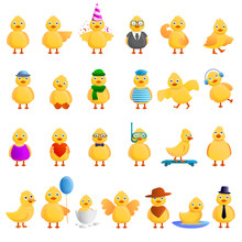Duck Icons Set. Cartoon Set Of...