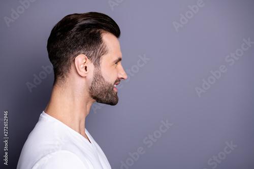Foto  Close up side profile photo amazing he him his wondered funny macho perfect idea