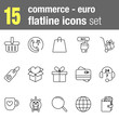 Flatline icons set Commerce and Economy