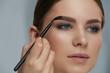 Eyebrow coloring. Woman applying brow tint with makeup brush