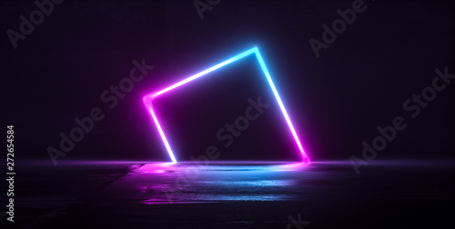 Futuristic Sci-Fi Abstract Blue And Purple Neon Light Shapes On Black Background And Reflective Concrete With Empty Space For Text 3D - 272654584