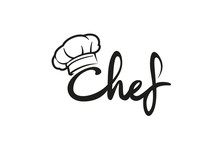 Creative Chef Hat Symbol Text Font Letter Logo Vector Design Illustration