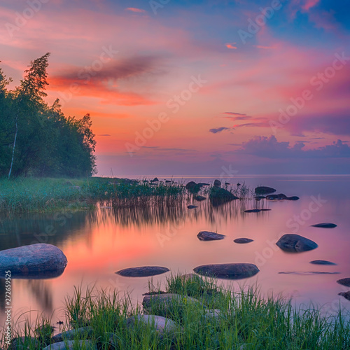 Long Exposure of Sunset at the Ladoga lake Fototapet