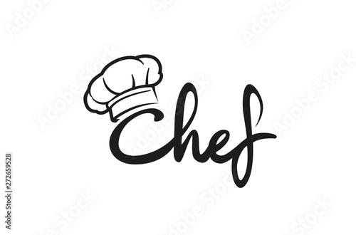 Valokuva Creative Chef Hat Symbol Text Font Letter logo Vector Design Illustration