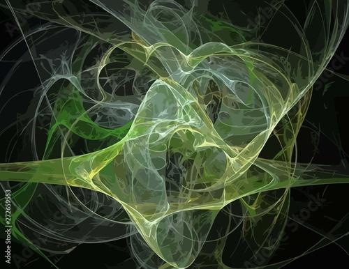 Tuinposter Fractal waves image of one Digital Fractal on Black Color