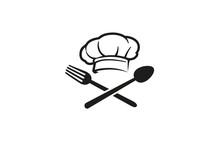 Creative Chef Hat Spoon Fork Logo Vector Symbol Design Illustration