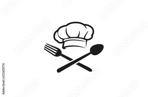Creative Chef Hat Spoon Fork logo Vector Symbol Design Illustration Wallpaper Mural