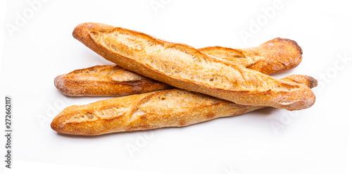 Photo Französisches Baguette isoliert auf Weißem Hintergrund