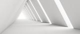 Fototapeta Fototapety przestrzenne i panoramiczne - Empty Long Light Corridor. Modern white background. Futuristic Sci-Fi Triangle Tunnel. 3D Rendering