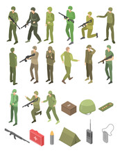 Soldier Military Icons Set. Is...