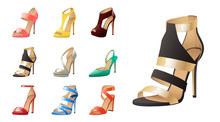 Collection Of Various Fashion Shoes Isolated On White
