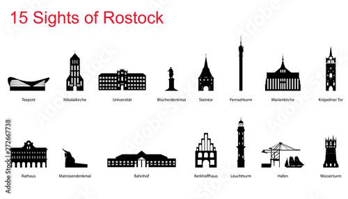 Fotomural  12 Sights of Rostock