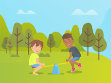 Children Playing In Park Vector, Amusement And Relaxation On Holidays, Fun Weekends Of Boys. Trees And Lawn, Seesaw Made Of Wooden Plank, Outdoors Game