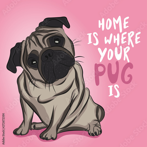 Home is where your pug is Wallpaper Mural