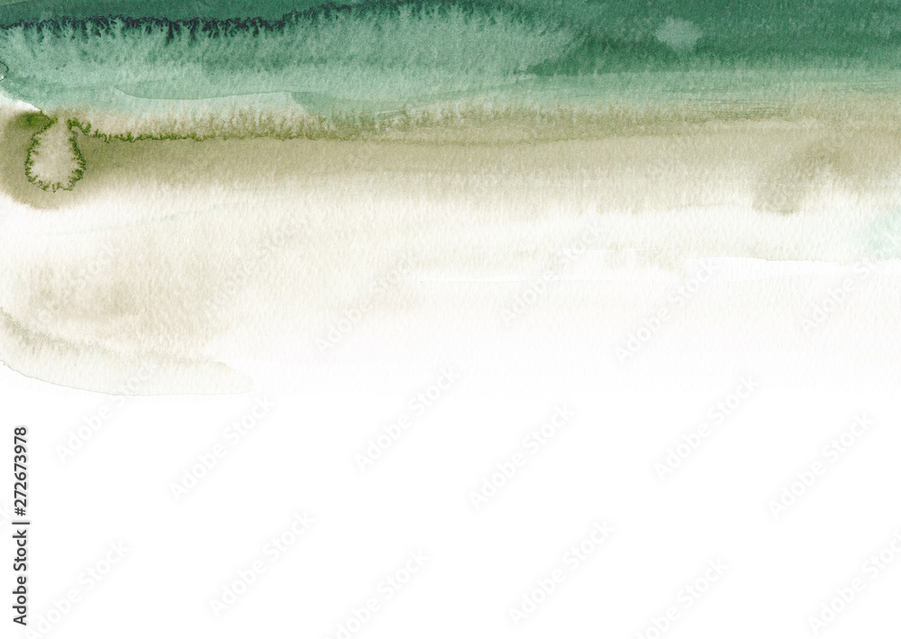 Fototapety, obrazy: Emerald and sage green background Abstract simple watercolor texture Paint stain
