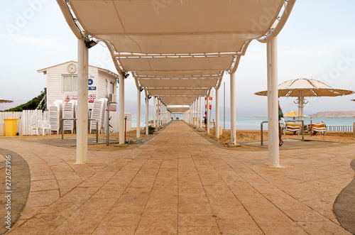 Beach resort at the dead sea Wes Anderson style Canvas Print