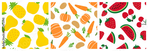 fototapeta na ścianę Fruits and vegetables seamless pattern set. Pineapple, apple, pear, lemon, pumpkin, carrot, potato, watermelon, strawberry, cherry. Fashion design. Food print. Vector sketch background collection
