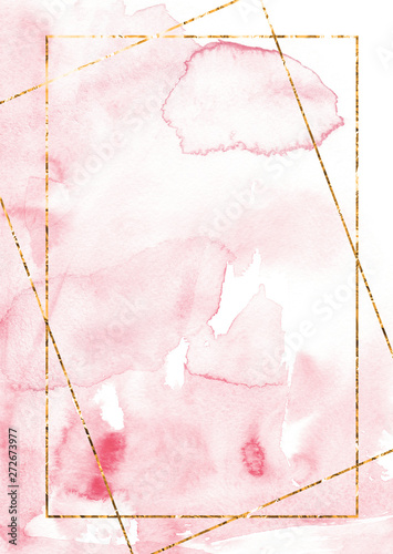 Valokuva  Blush pink watercolor Card template with golden frame Abstract paint stain backg