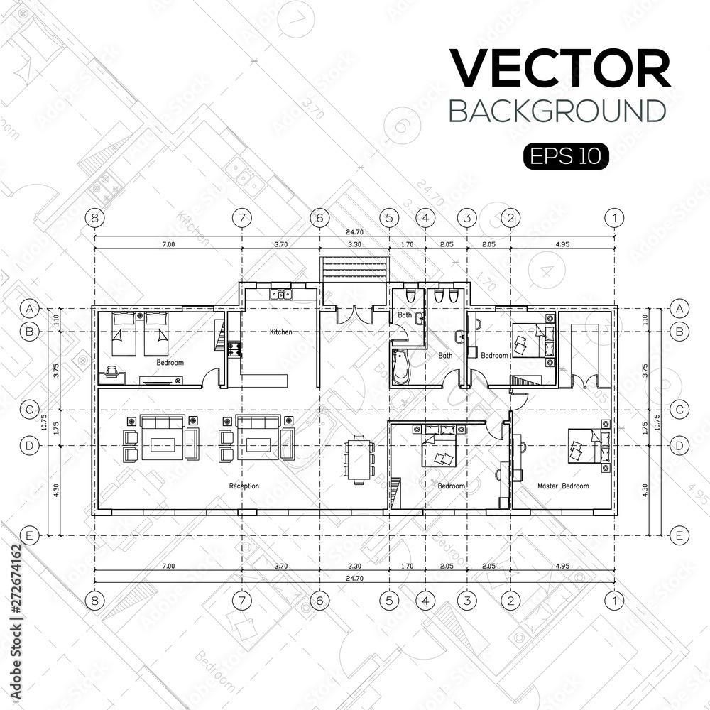 Fototapeta Detailed architectural plan , Architectural background , architectural plan vector