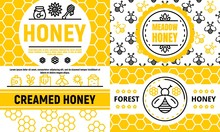 Honey Banner Set. Outline Set ...