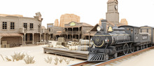 Low Polygon Illustration Toon Style Of A Westernn Train Station With Various Businesses. 3d Rendering Tow