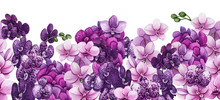 Seamless Border Of Watercolor Orchid Flowers