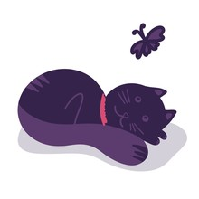 Violet Cat Cute Hand Draw With Butterfly On White Background. Illustration For Textile Fabric, Children Book Logo, Greeting Card, Wedding, T Shirt Print, Graphic Icon, Poster, Banner. Raster Animal