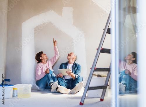 Fényképezés  Senior couple painting walls in new home, using tablet