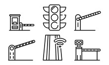Toll Road Icons Set. Outline S...