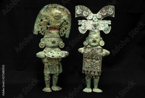 Slika na platnu Pre-columbian copper men figure from Lambayeque ancient Peruvian culture
