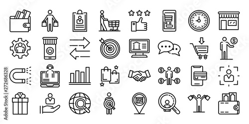 Obraz Buyer icons set. Outline set of buyer vector icons for web design isolated on white background - fototapety do salonu
