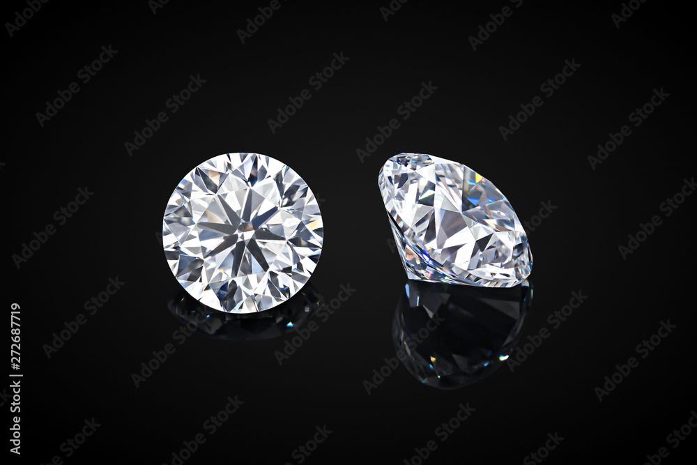 Fototapeta Diamond isolated on black background. Luxury colorless transparent sparkling gemstone diamond round shape cut