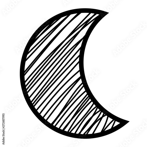 crescent moon drawing isolated icon Fototapete