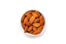 Almond In Ceramic Bowl On A White Background