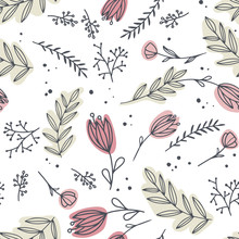 Decorative Flowers Seamless Pattern. Delicate And Scribble Flowers On Green Background