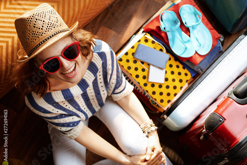 Fotografie, Obraz  happy stylish woman with supper hat and sunglasses