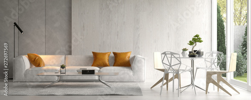 Fotografia  Interior of modern living room with sofa 3D rendering