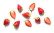 Leinwanddruck Bild - Ripe strawberries isolated on white background, berry pattern, top view