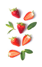 Ripe Strawberries And Mint Leaves Isolated On White Background, Top View